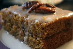 Vegan Carrot Cake with Lemon icing and candied nuts